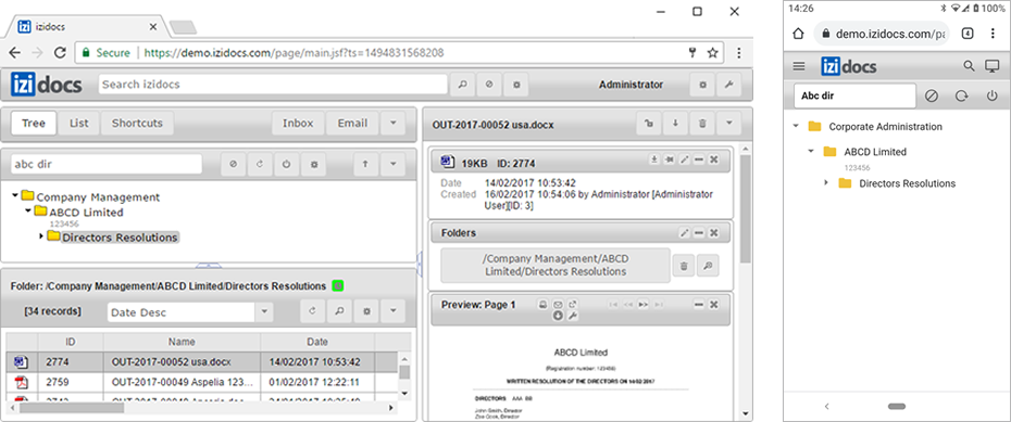 document management browser based interface image